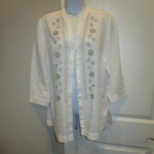 CHARTER CLUB WHITE LINEN BLOUSE GOLD/SILVER BEADS